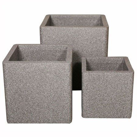 Set of 4 IQBANA SQUARE pots - Grey
